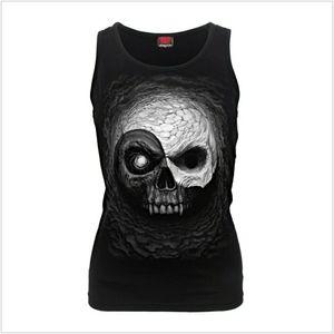 Yin Yang Skulls - Razor Back Top Black Szs: S & XL